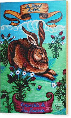 Le Grand Lapin Anarchie Wood Print by Genevieve Esson