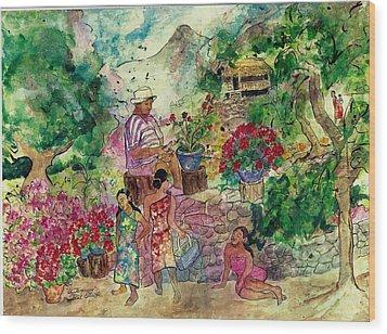 Le Jardiniere Wood Print by Elaine Elliott