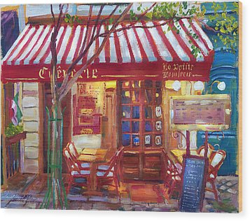 Le Petite Bistro Wood Print by David Lloyd Glover