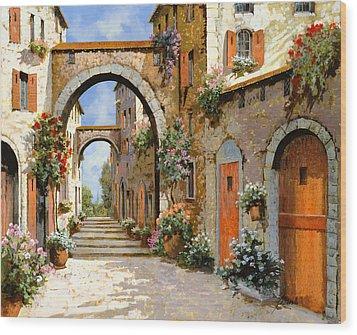 Le Porte Rosse Sulla Strada Wood Print by Guido Borelli