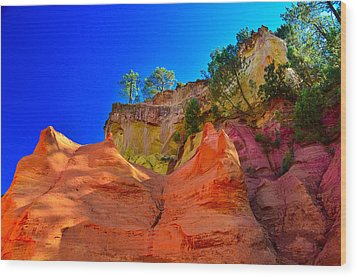 Le Sentier Des Ocres Roussillon France Wood Print by Jeff Black