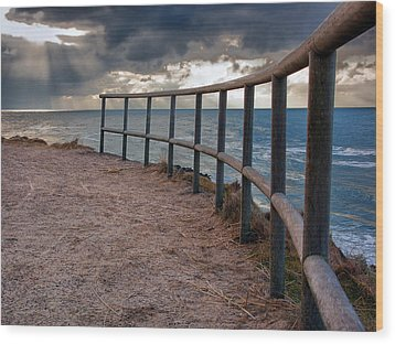 Rail By The Seaside Wood Print