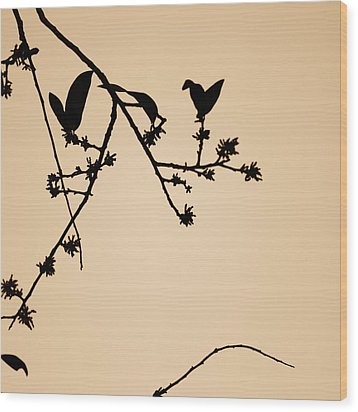 Leaf Birds Wood Print