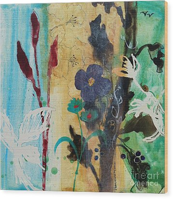 Wood Print featuring the painting Leaf Flower Berry by Robin Maria Pedrero