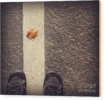 Wood Print featuring the photograph Leaf On The Line by Meghan at FireBonnet Art