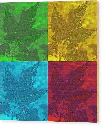 Leaf Pop Art Wood Print by Barbara McDevitt