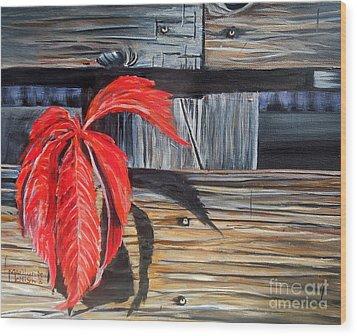 Leaf Shadow 2 Wood Print by Marilyn  McNish