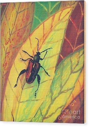 Leaf Surfer Wood Print by Anna Skaradzinska