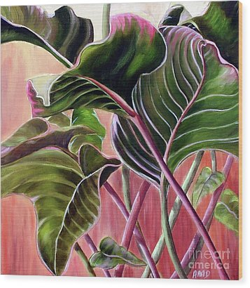 Wood Print featuring the painting Leafy by Anna-Maria Dickinson