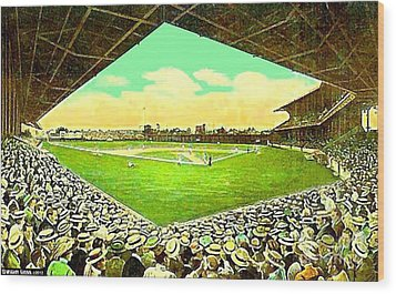 League Park Stadium In Cleveland Oh Around 1915 Wood Print
