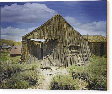Leaning Barn Of Bodie California Wood Print by LeeAnn McLaneGoetz McLaneGoetzStudioLLCcom