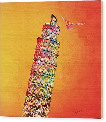 Leaning Tower Wood Print by Mark Ashkenazi