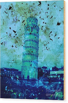 Leaning Tower Of Pisa 3 Blue Wood Print