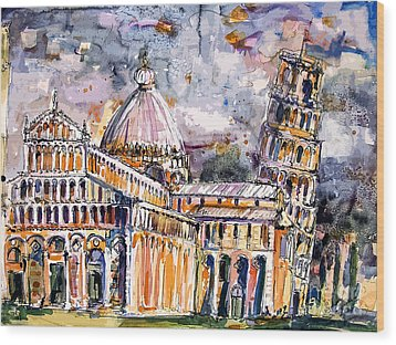 Leaning Tower Of Pisa Italy  Wood Print by Ginette Callaway