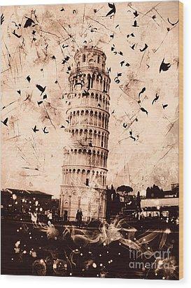 Leaning Tower Of Pisa Sepia Wood Print