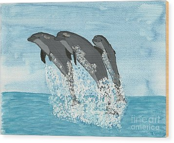 Wood Print featuring the painting Leaping Dolphins by Tracey Williams