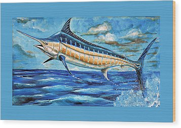 Leaping Marlin Wood Print by Steve Ozment