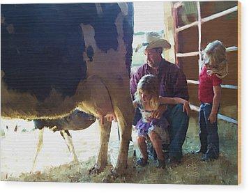 Learning How To Get Milk Wood Print by Debra Baldwin