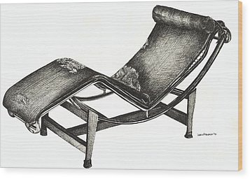 Leather Chaise Longue Wood Print by Adendorff Design