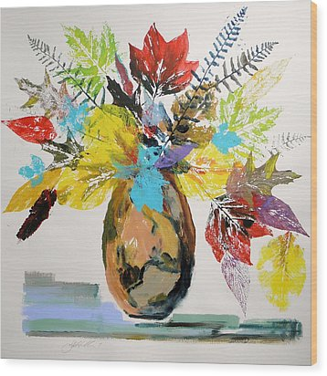 Wood Print featuring the painting Leaves And Fronds by John Williams
