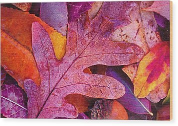 Leaves Wood Print by Anne-Elizabeth Whiteway