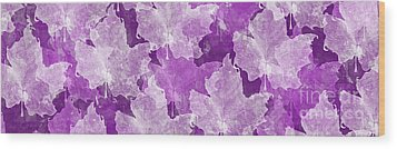 Leaves In Radiant Orchid Panorama Wood Print by Andee Design