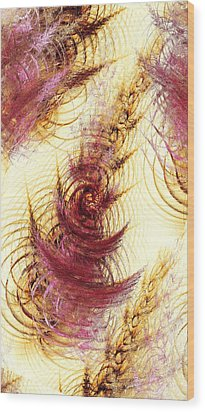 Leaves On A Water Wood Print by Anastasiya Malakhova