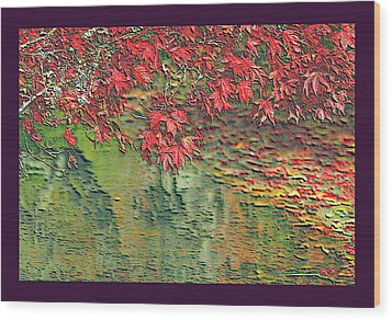 Leaves On The Creek 3 With Small Border 3 Wood Print by L Brown