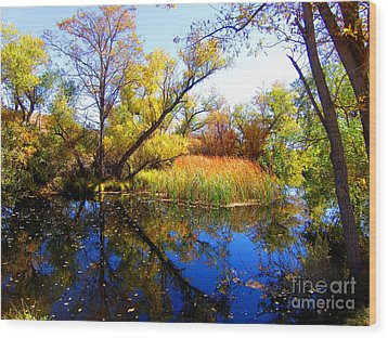 Leaves On The Pond Wood Print by Marilyn Diaz