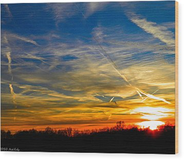 Leavin On A Jetplane Sunset Wood Print