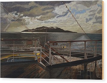 Leaving Queen Charlotte Sound Wood Print by Thu Nguyen