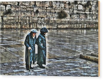 Wood Print featuring the photograph Leaving The Western Wall In Israel by Doc Braham