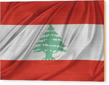 Lebanese Flag Wood Print by Les Cunliffe