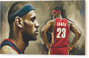 Lebron James Artwork 1 Wood Print by Sheraz A