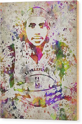 Lebron James In Color Wood Print by Aged Pixel