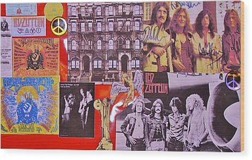 Led Zeppelin  Collage Number Two Wood Print by Donna Wilson