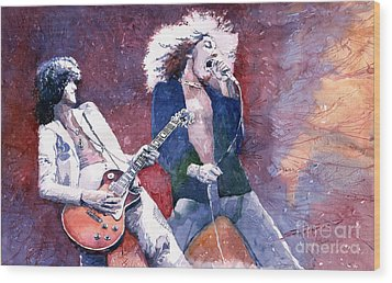 Led Zeppelin Jimmi Page And Robert Plant  Wood Print by Yuriy  Shevchuk