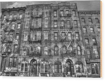Led Zeppelin Physical Graffiti Building In Black And White Wood Print by Randy Aveille