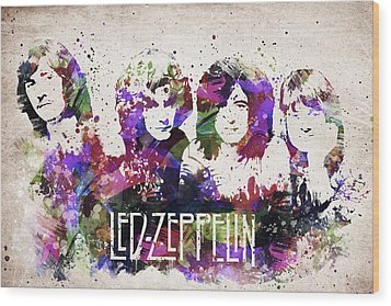Led Zeppelin Portrait Wood Print