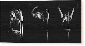 Led Zeppelin Robert Plant Triptych Wood Print by Chris Walter
