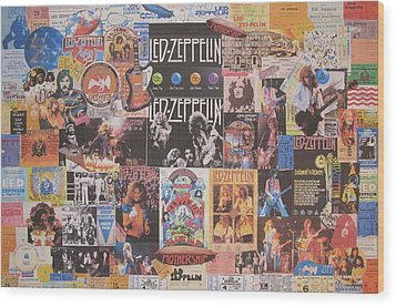 Led Zeppelin Years Collage Wood Print