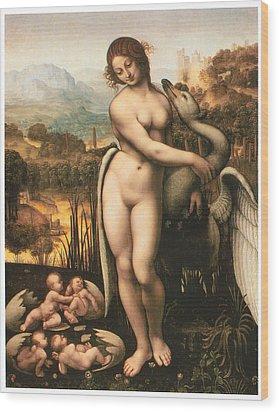 Leda And The Swan Wood Print by Cesare Da Sesto
