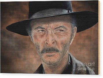 Lee Van Cleef As Angel Eyes In The Good The Bad And The Ugly Version II Wood Print