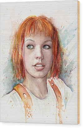 Leeloo Portrait Multipass The Fifth Element Wood Print by Olga Shvartsur