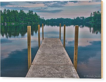 Lees Mills Dock Wood Print by Brenda Jacobs