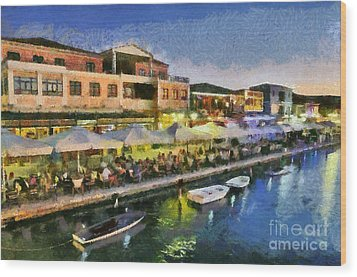 Lefkada Town During Dusk Time Wood Print by George Atsametakis