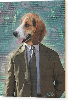 Legal Beagle Wood Print by Nikki Smith