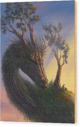 Legend Wood Print by Katerina Romanova