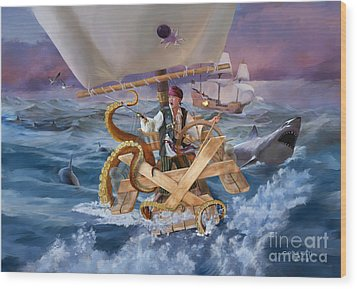 Wood Print featuring the painting Legendary Pirate by Rob Corsetti