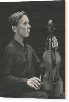 Wood Print featuring the painting Legendary Violinist by Ferrel Cordle